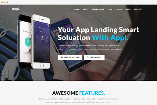 appi responsive app landing page template