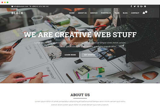 black one page business website template