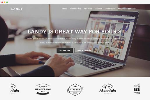 landy onepage startup landing page